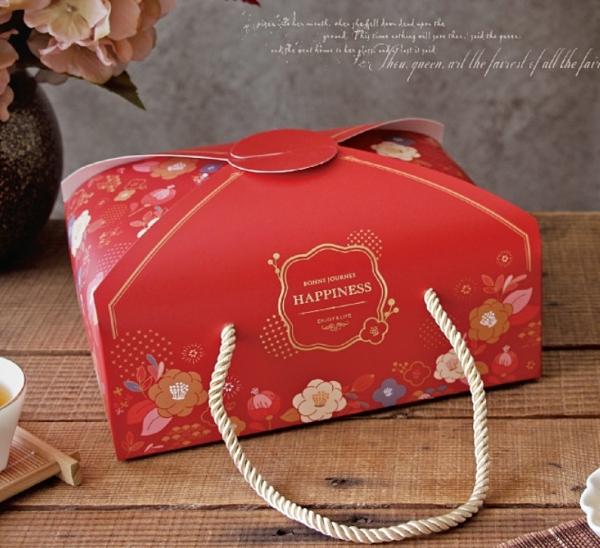 台灣製 新年雙扣提盒(長)附金繩 蛋黃酥盒 過年伴手禮盒 年節紙盒 鳳梨酥盒 餅乾盒【X125】