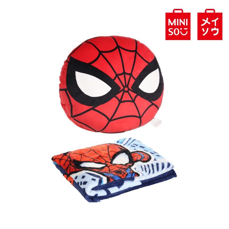 【MINISO名創優品】漫威2.0系列抱枕加毛毯, 毛毯尺寸:100x90cm(蜘蛛俠) 蜘蛛人毛毯