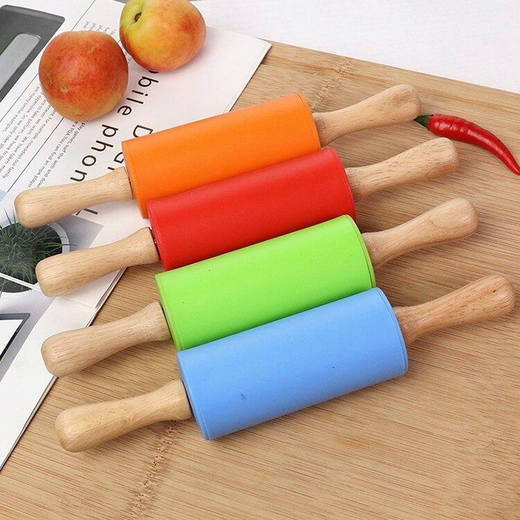 兒童搟面杖小號幼兒園粘土烘焙DIY餃子棍滾軸壓橡皮泥棍搟面棒壓
