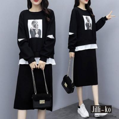 JILLI-KO 假兩件印花T半裙套裝- 黑色