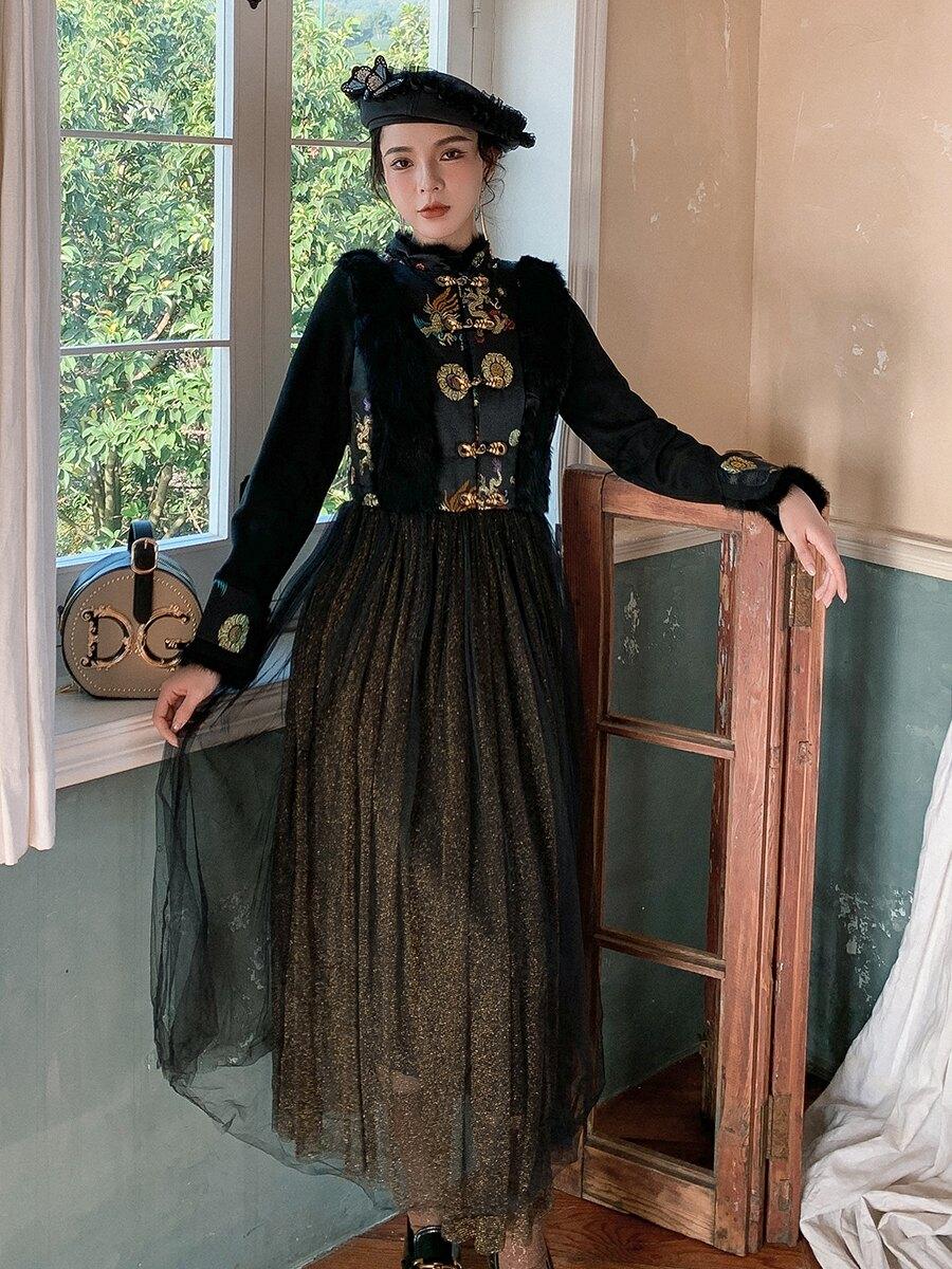 過年旗袍秋冬2121年新款新年衣服中國風女裝冬裝漢服改良版連身裙 【私人小鋪】