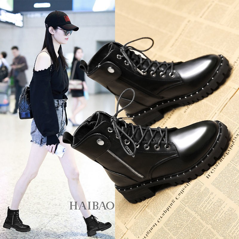 【LIN】馬丁靴女英倫風2020秋冬新款網紅靴子百搭短筒瘦瘦單靴ins潮短靴