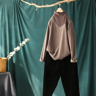 軟糯蕾絲刺繡半高領套頭針織衫三色可選-設計所在