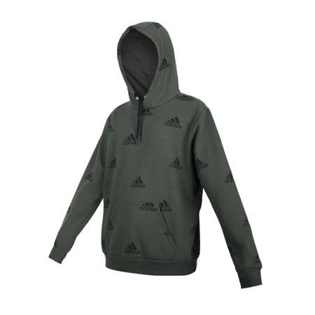 (男) ADIDAS 長袖連帽T恤-亞規 帽T 刷毛 休閒 上衣 保暖 愛迪達 深綠黑
