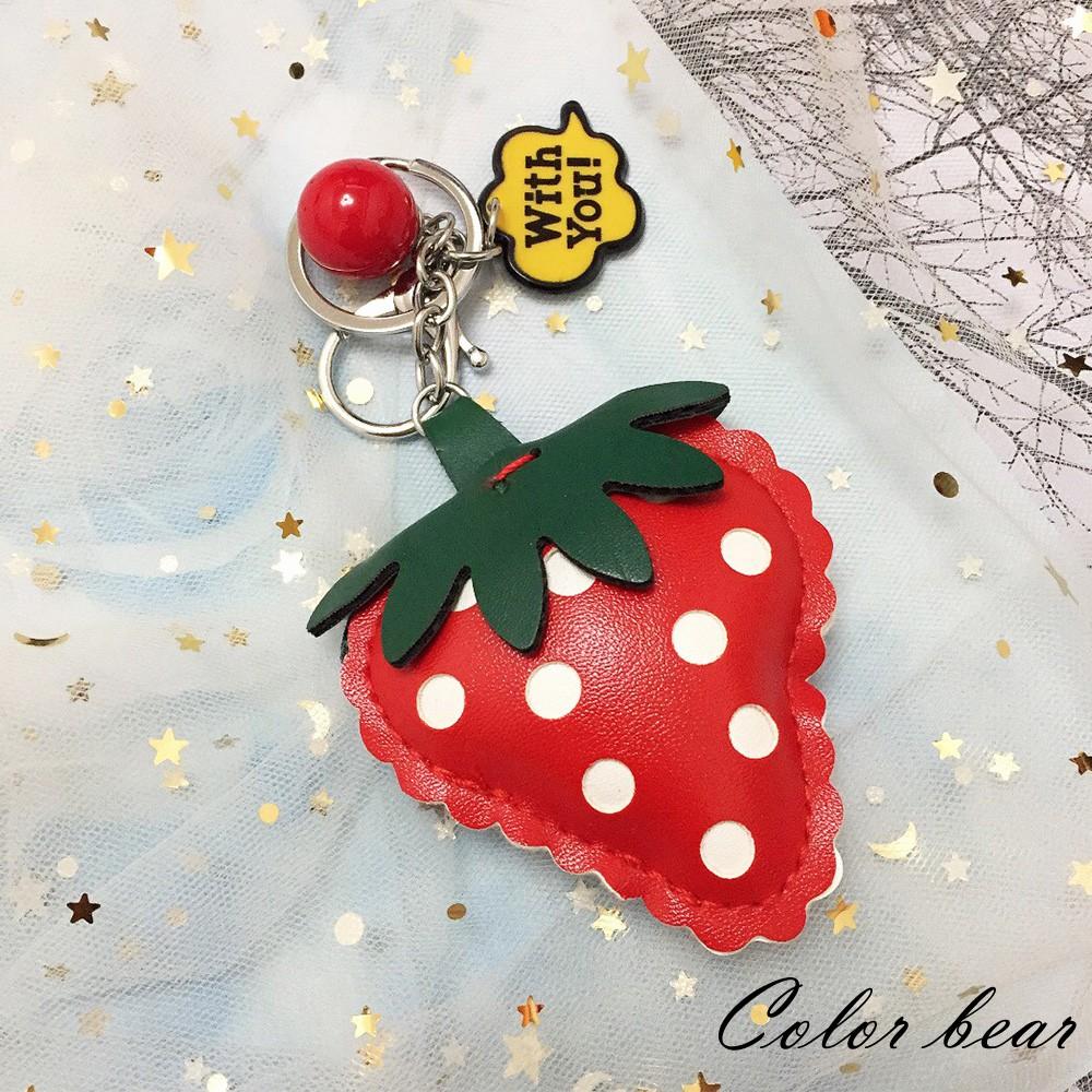 【卡樂熊】趣味立體水果造型鑰匙圈-草莓