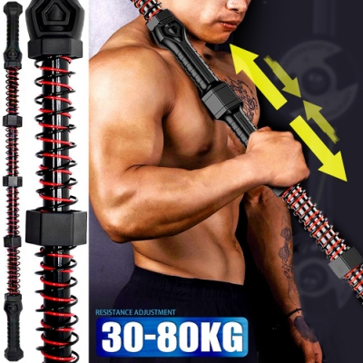 雙向彈簧手臂力器(阻力30-80KG)(可調式擴胸器健臂器/臂力棒彈力棒握力棒/拉力握力器/手腕力訓練器)