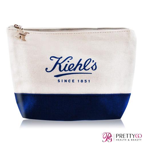 KIEHL'S 契爾氏 藍白相間帆布化妝包(15X5.5X14.5cm)