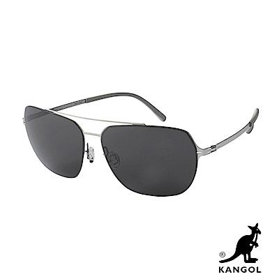 KANGOL 時尚個性方框太陽眼鏡KG800011-銀色鏡框/矽膠腳套