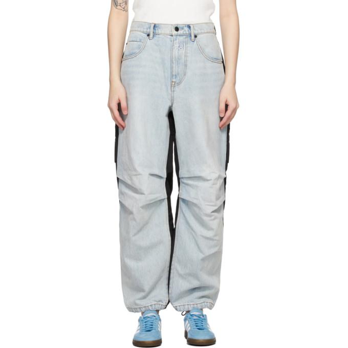Alexander Wang 蓝色 and 黑色 Hybrid Cargo 牛仔裤