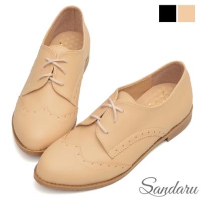 山打努SANDARU-牛津鞋 復古雕花綁帶小皮鞋-米