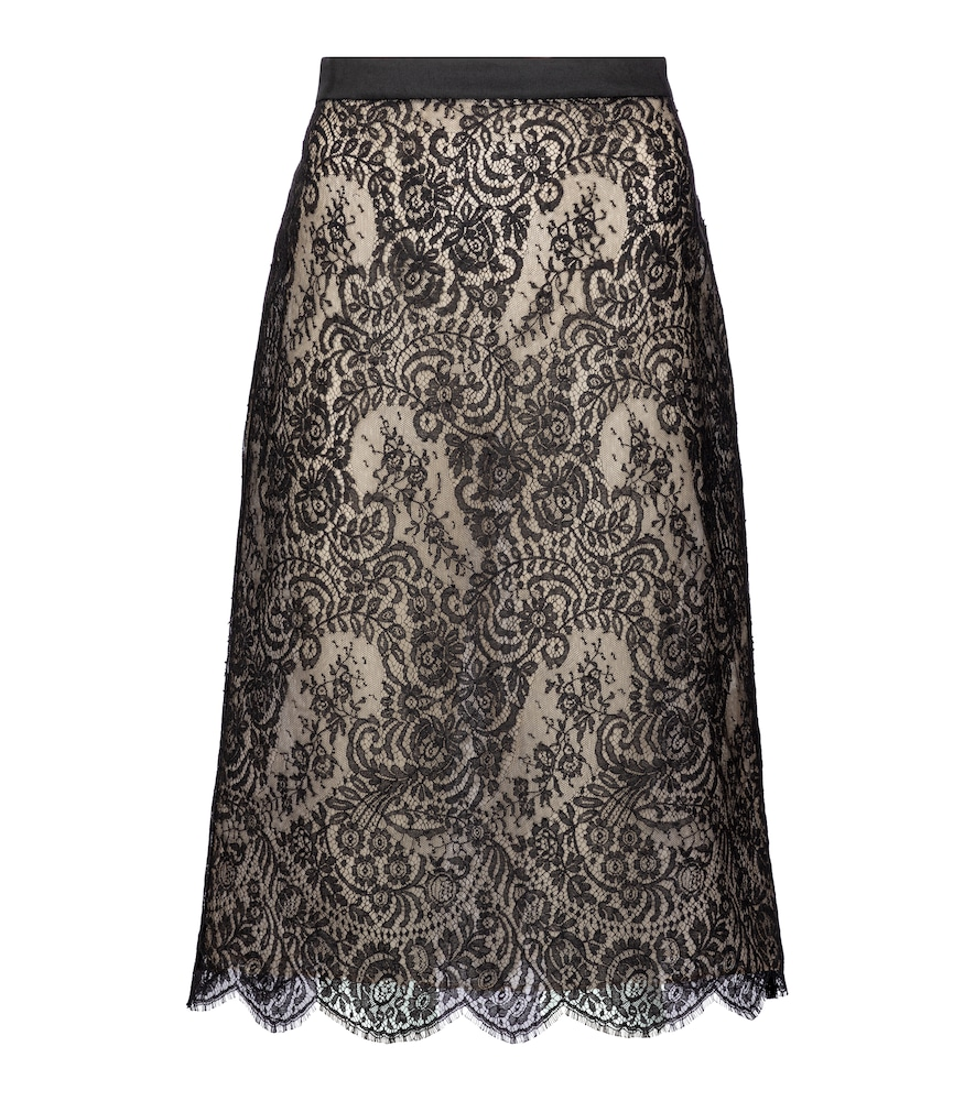Cotton-blend lace midi skirt