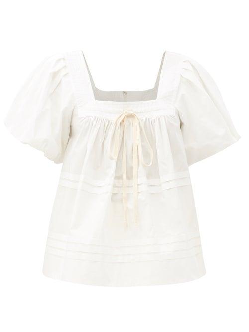 Lee Mathews - Robin Square-neck Puff-sleeve Cotton Top - Womens - White