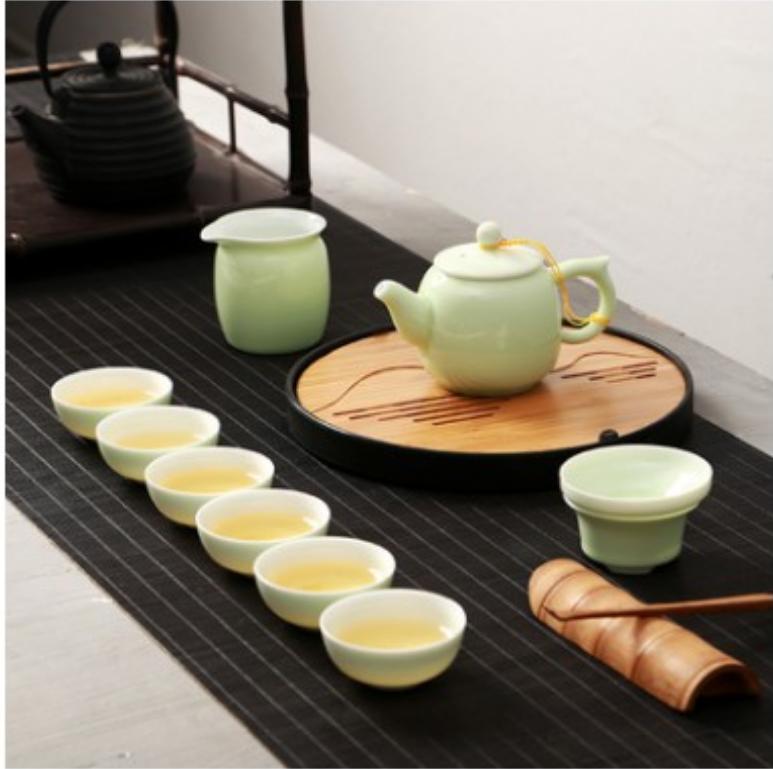 陶瓷功夫 茶具 整套紫砂茶具套裝 冰裂釉茶具 汝窯茶盤茶 杯茶壺 免運