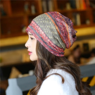 【89 zone】法式優雅薄款透氣套頭防風/頭巾帽 (小方格紅)
