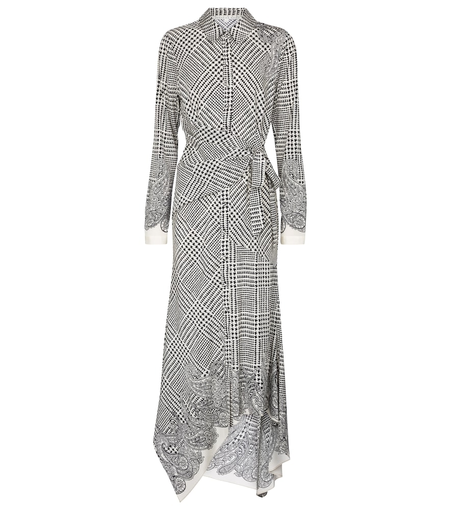 Ondine checked stretch-silk midi dress