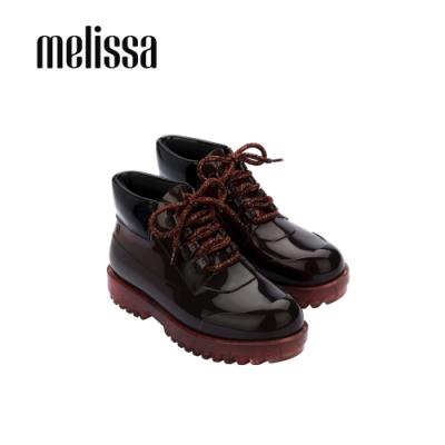 Melissa ARES配色綁帶低筒靴-咖