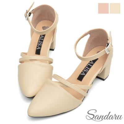 山打努SANDARU-中跟鞋 交叉設計繞踝尖頭鞋-米