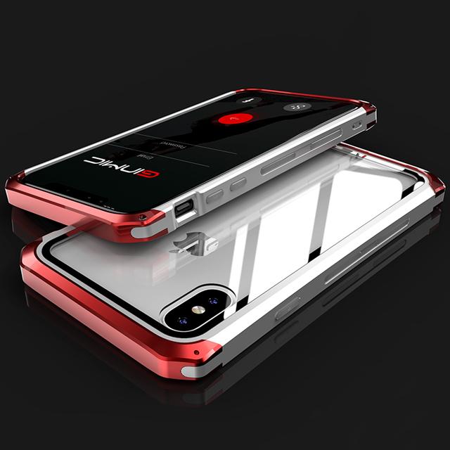 [現貨] 蘋果 iPhone X/XS/XS MAX/XR/8/7 Plus 系列 金屬邊框防摔鋼化玻璃手機殼【QZZZ30243】