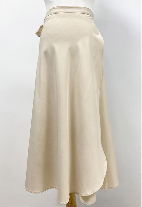[sharming] 女性喇叭雪紡長裹身裙 象牙白色