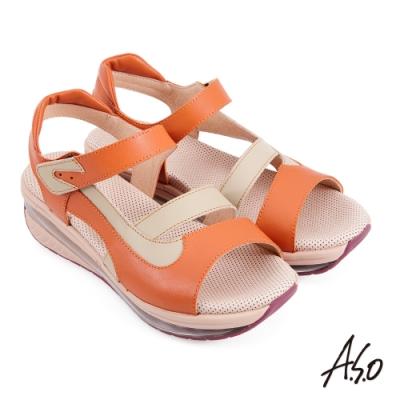 A.S.O 超能力氣墊撞色拼接休閒涼鞋-橘