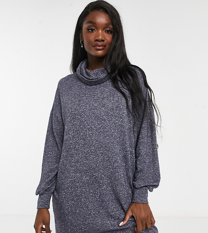 ASOS DESIGN Tall super soft long sleeve roll neck mini dress in charcoal grey marl