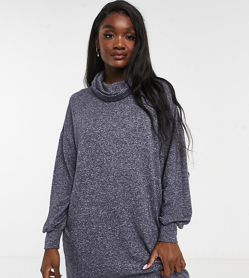 ASOS DESIGN Tall super soft long sleeve roll neck mini dress in charcoal grey marl