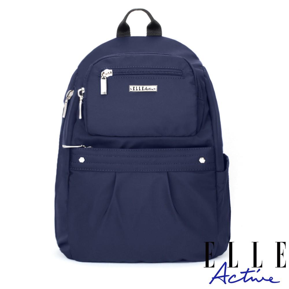 【ELLE Active】知性優雅系列-防盜 後背包-中-深藍色