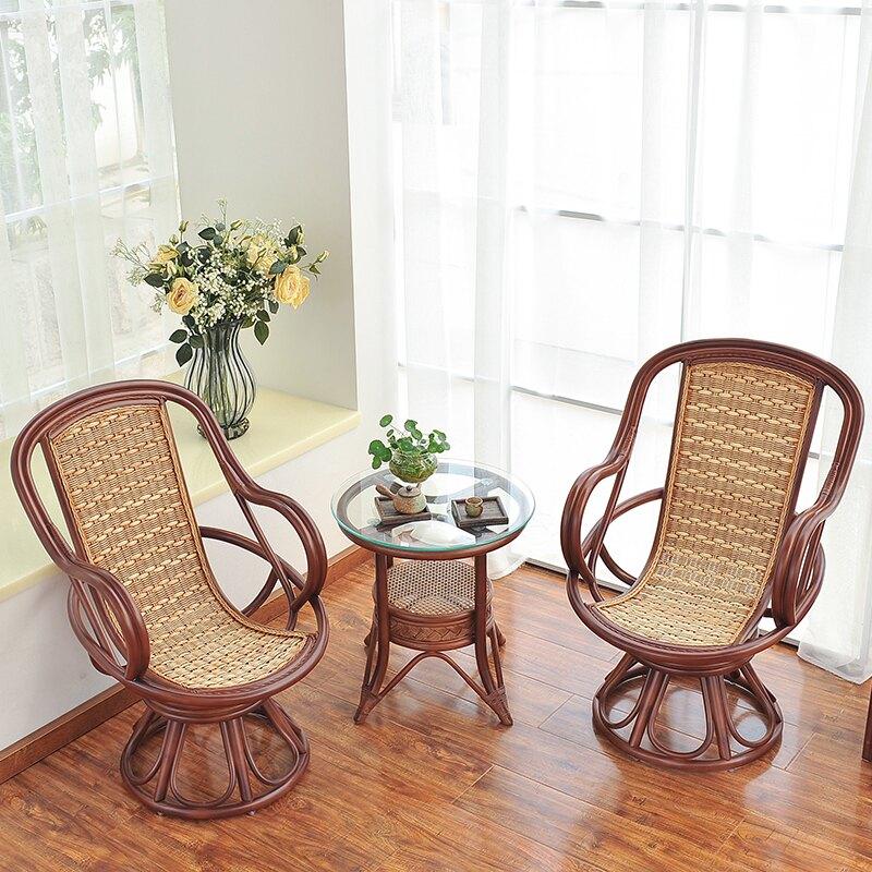 籐椅三件套 籐椅三件套陽台實木休閒桌椅組合籐椅子茶几三件套藤編傢俱北歐   麻吉好貨618大促銷
