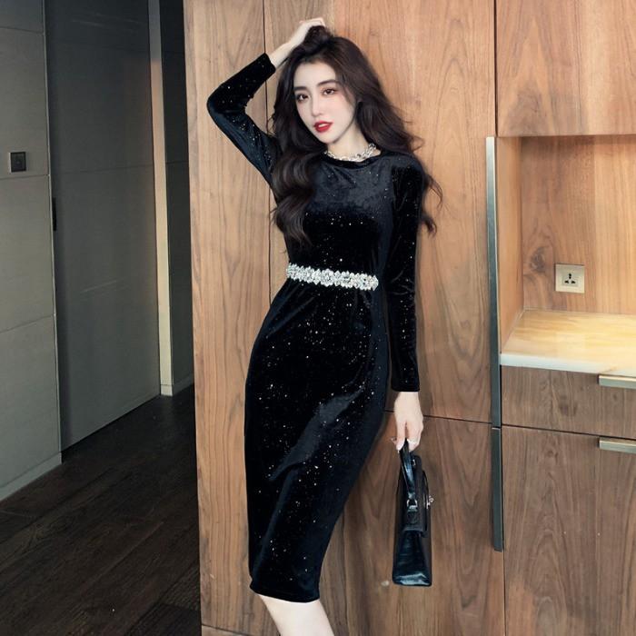 現貨 長袖洋裝 連衣裙 法式洋裝 性感裙子 復古黑色金絲絨連衣裙女秋裝2020新款燈籠長袖氣質顯瘦包臀裙子女
