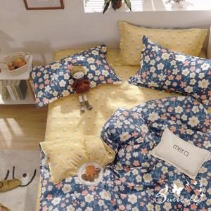 BUTTERFLY-台製純棉三件式枕套床包組-絲絲花香-藍(特大)