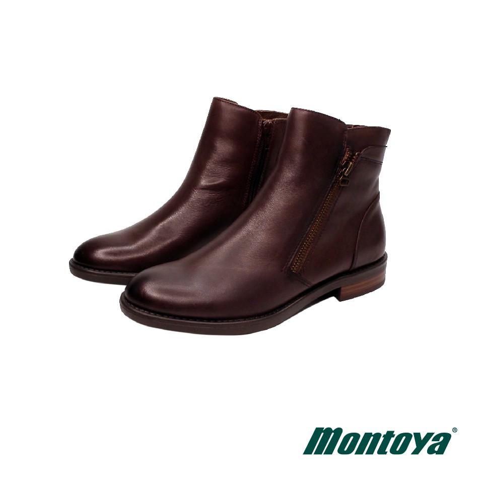 montoya 女款 咖啡色 羊皮個性簡約拉鍊短靴-M9852828