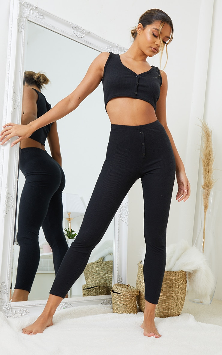 Black Brushed Rib Button Up Detail Crop Top And Legging PJ Set