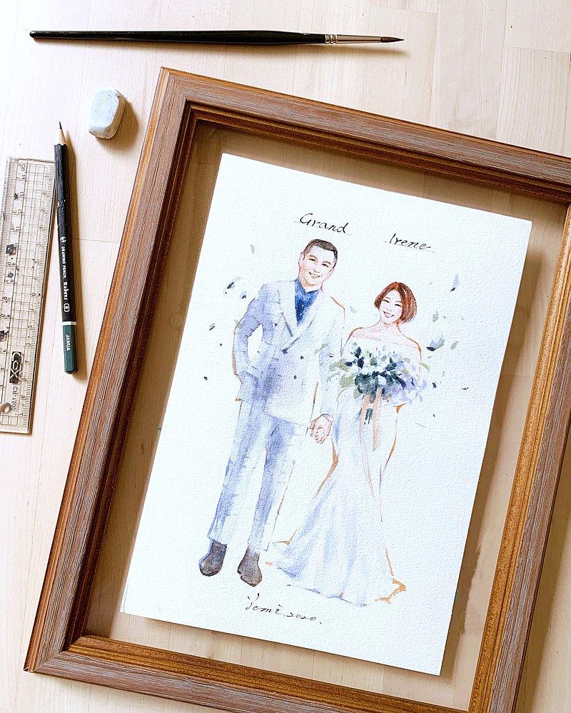 客製人像繪製 /透明畫框/似顏繪/禮品紀念/結婚