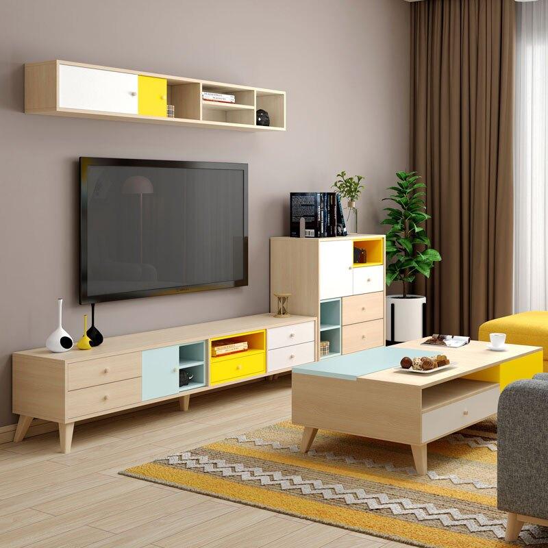 電視櫃 電視櫃組合牆現代簡約小戶型客廳傢俱套裝迷你北歐茶幾電視櫃地櫃   麻吉好貨