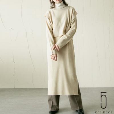 日牌Chillfar 套頭針織衫&針織連身裙層次洋裝 兩件組  3色