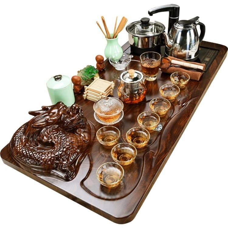 茶盤 美閣紫砂功夫茶具套裝家用簡約陶瓷茶杯電熱磁爐茶台茶道實木茶盤   麻吉好貨
