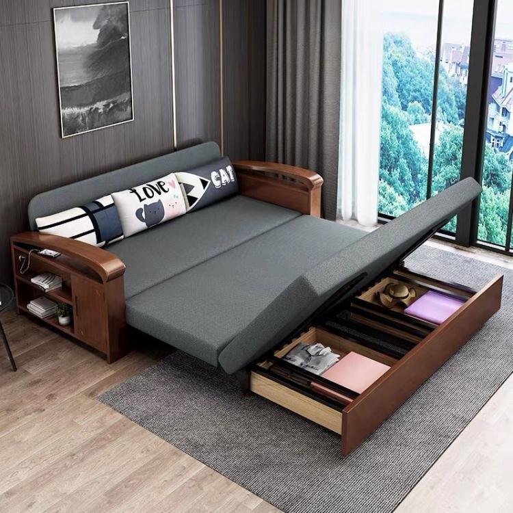 實木沙發床可折疊單雙人多功能坐臥兩用小戶型客廳簡約現代沙發床 現貨快出YJT