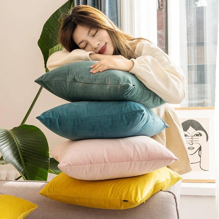 抱枕套靠墊不含芯天鵝絨客廳辦公室汽車床頭沙發大靠背護腰枕靠枕