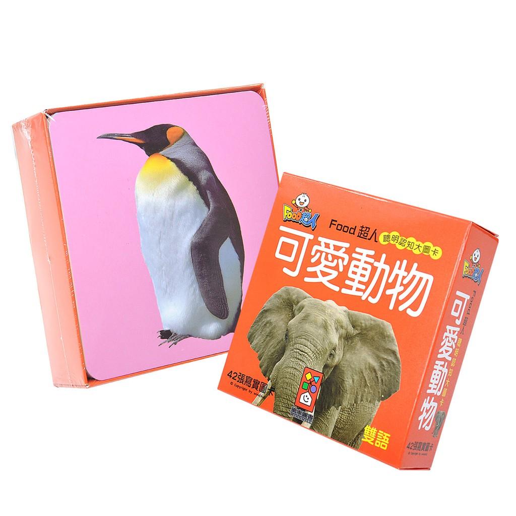風車圖書 FOOD超人可愛動物聰明認知大圖卡42張,識字圖卡、親子互動 HORACE
