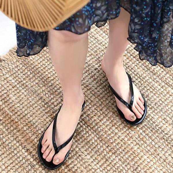 [shinzikatoh] 8種顏色女性涼鞋 夏季平底鞋 黑色