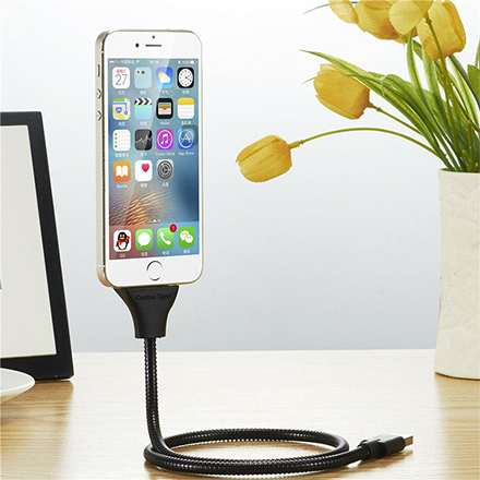 [現貨] 金屬軟管手機支架懶人支架充電線數據線 創意可愛小手掌設計可彎折 【QZZZ6014】