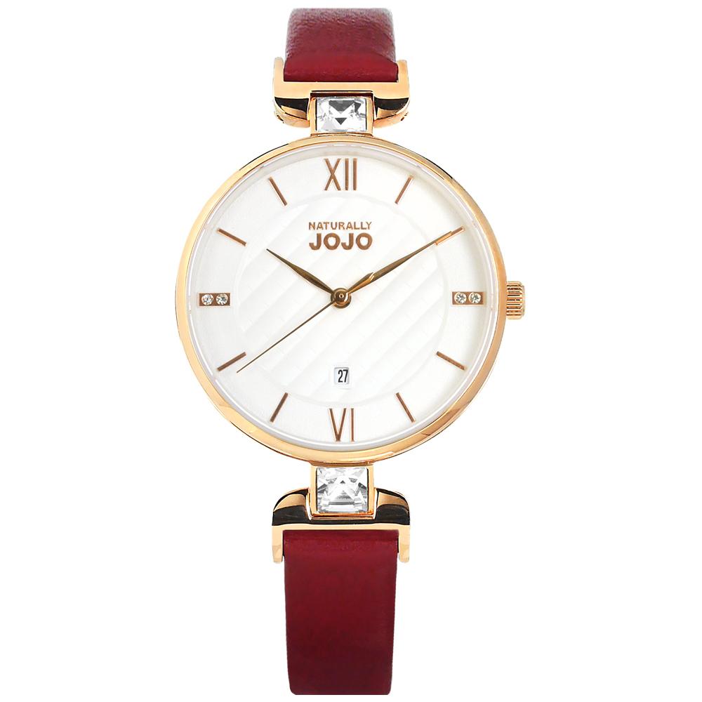 NATURALLY JOJO 格紋 晶鑽 日期 真皮手錶 白x玫瑰金框x紅 JO96972-15R 34mm 廠商直送
