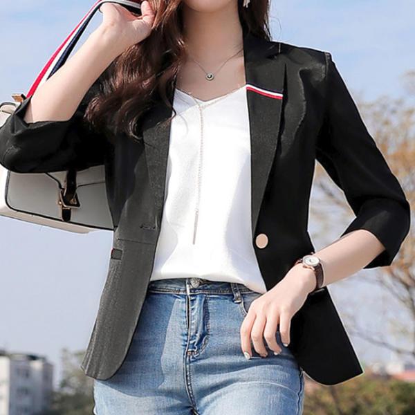7分女性夾克簡約休閒女士新款春季夾克夏季正裝黑色