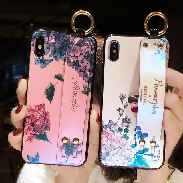[現貨]蘋果 iPhone X/XS/XS MAX/XR/8/7/6 s Plus 全系列 唯美夢幻藍光花朵腕帶支架手機殼【QZZZ30230】
