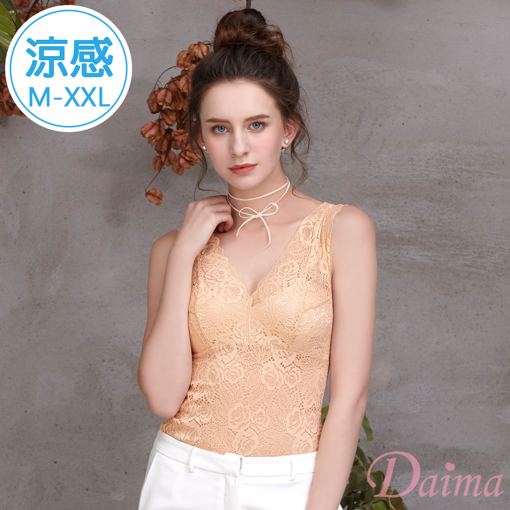 內衣 免穿內衣(M-XXL)玫瑰蕾絲長版塑身顯瘦收腹內搭背心_膚色【黛瑪Daima】