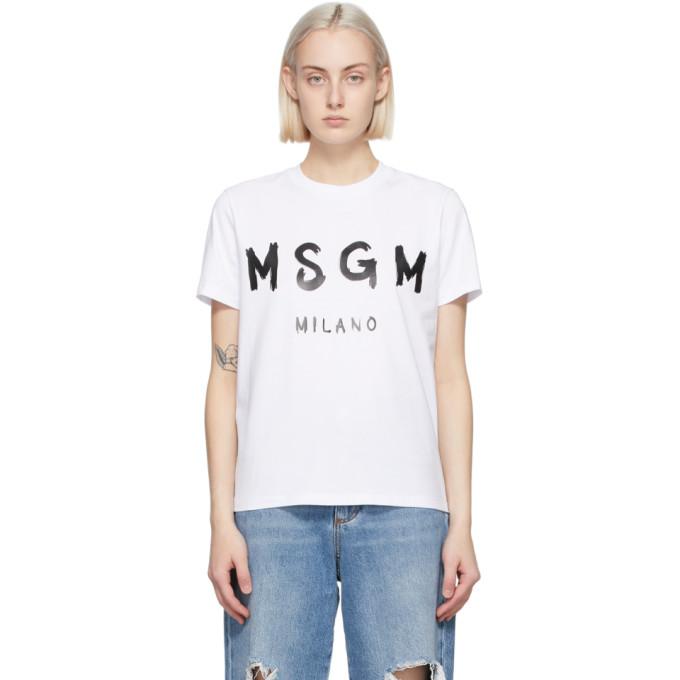 MSGM 白色 Artist Logo T 恤