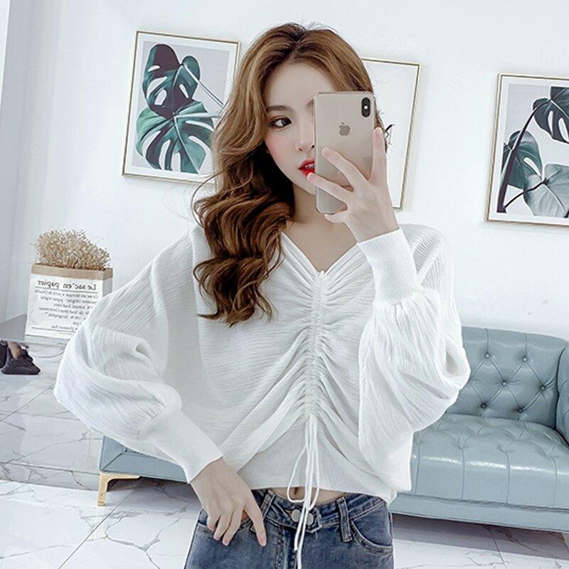 2019秋裝新款韓版V領抽繩系帶蝙蝠袖毛衣女裝寬松顯瘦短款針織衫1入