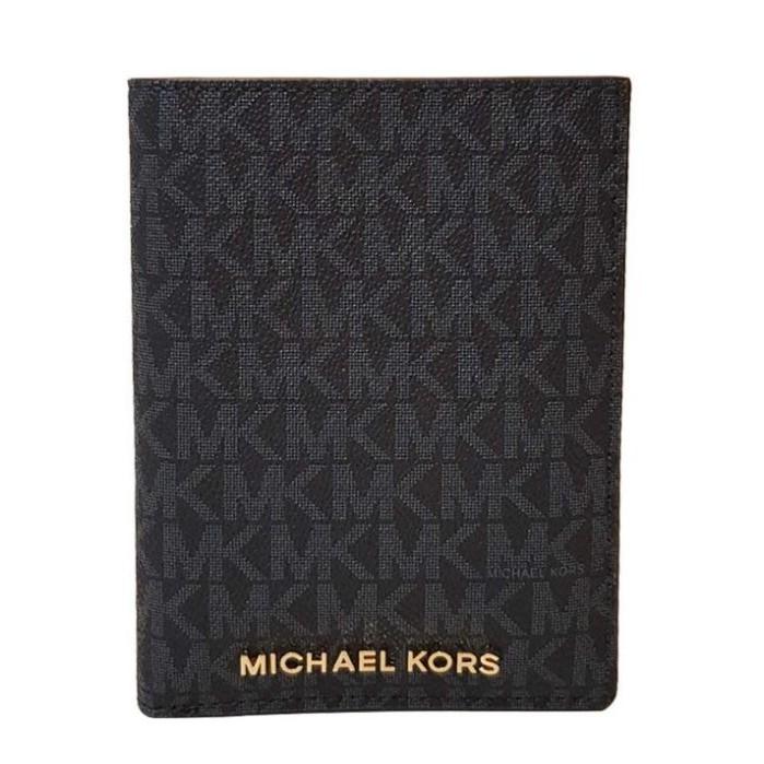 MICHAEL KORS 護照夾 卡片夾 皮夾 有鈔票層 防刮PVC皮革 證件夾 M10370 黑灰色MK(現貨)