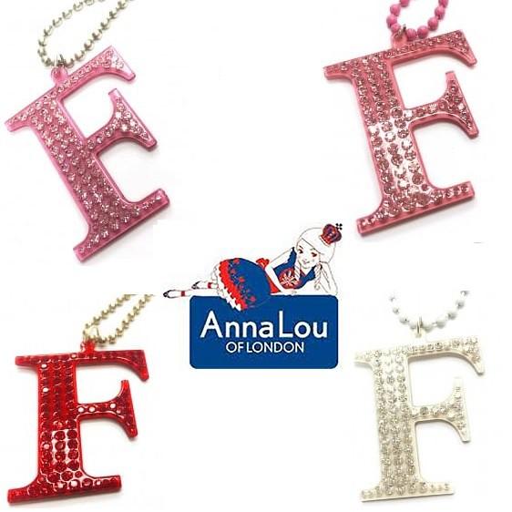 Anna Lou Of London 倫敦品牌 立體F字母項鍊 水晶項鍊 白色X紅色X粉紅色