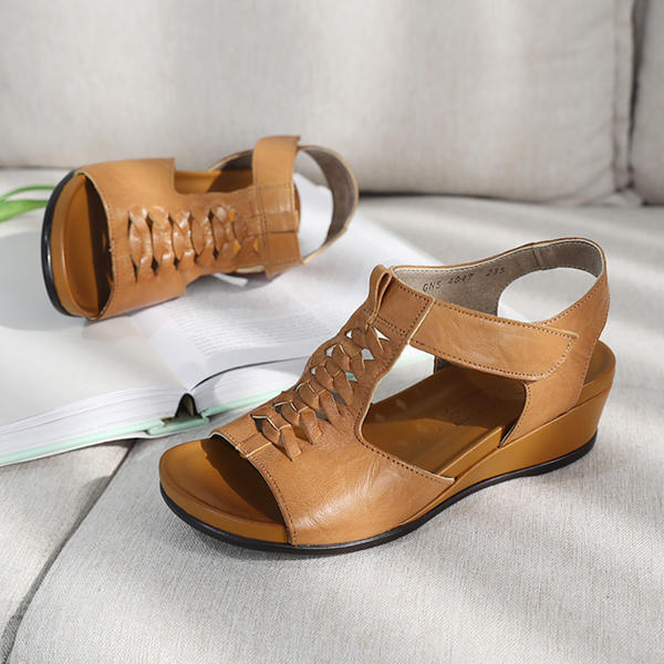 [Jaysh] 手工鞋 天然羊皮 整潔 坡跟鞋 涼鞋 駝色